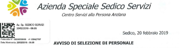 BANDO DI SELEZIONE PER OPERATORI SOCIO SANITARI