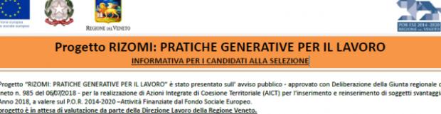 """Progetto """"Rizomi: pratiche generative per il lavoro"""" – DGR 985/2018"""
