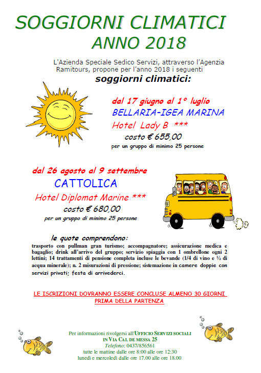 SOGGIORNI CLIMATICI 2018 | Sedico Servizi